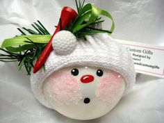 Golf Ball Ornaments | Golf Snowman Ornament Tee and Ball Christmas Tree Bulb Hand Painted ...