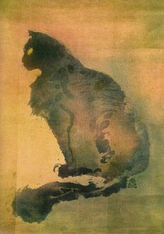 ♞ Artful Animals ♞ bird, dog, cat, fish, bunny and animal paintings - Théophile Alexandre Steinlen, Chat Pourpre,1900.