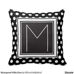 Monogram Polka Dots Throw Pillow