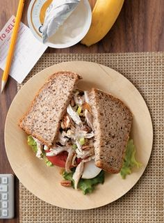 Chicken Salad Sandwich + Low-fat Greek Yogurt + Banana. Pinned for BabyBump, the #1 mobile pregnancy tracker with the built-in community for support and sharing.