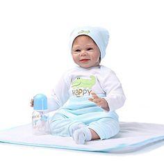 NPKDOLL Reborn Bambino Bambola Morbido Silicone Vinile 22 Pollici 55 Centimetri Magnetica Bocca Realistica Della Ragazza Del Giocattolo Animale Blu Bianco Bambolina Doll A1IT