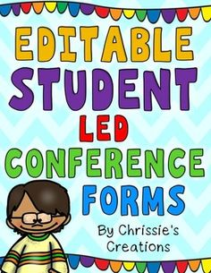 Student Led Conferences .  These Editable Student Led Conference forms come in PDF format for those who prefer to print and write.  Editable Student Led Conference Forms also come in EDITABLE PowerPoint format with text boxes.  Just open in Powerpoint and customize the forms to make them your own.  ***This Product Includes***Welcome sign for your door5 station signs (color and bw)Student data cover sheet colored and bwStudent portfolio cover sheet colored and bwReading portfolio…