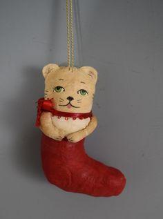 CHRISTMAS  Handmade Spun Cotton Kitten Ornaments