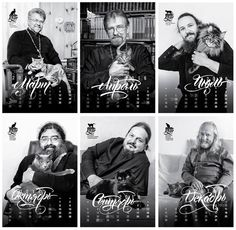 Russian Priest's and Cats pose for a calender