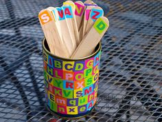 Alphabet sticks. So many different activities you can do with these. I would make a lowercase letter sticks too.