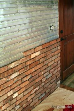 faux exposed brick wall idea  - Ive always wanted to do this in Jacob's Fire Truck room. Think it would be cute to look like an old fire station
