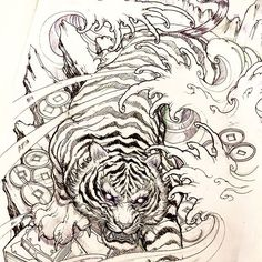 Tiger sketch #tiger #sketch #illustration #drawing #irezumi #tattoo #asiantattoo #asianink #chronicink