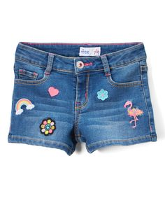 Look at this Freestyle Revolution Dark Wash Flamingo Patch Denim Shorts on #zulily today!