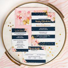 """""""Krissy"""" Navy + Pink Striped Wedding Invitation"""