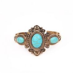 Artificial Turquoise Oval Cuff Bracelet - GOLDEN