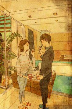 Hermosas ilustraciones retratan los pequeños detalles en los que se encuentra el amor día a día