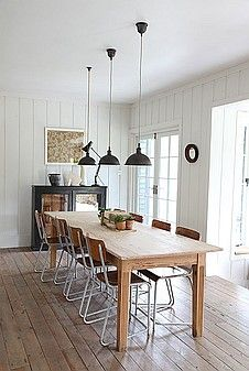 Farmhouse table and industrial style pendant lamps...swoon