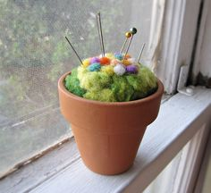 Pin Cusion:  //  Needle Felted Pin Cushion Felted Flower Pot by theFolk on @Etsy