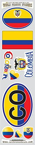 Car Chrome Decals STS-CO Colombia 9 stickers set Colombian flag decals bumper stiker car auto bike laptop:   Made of high quality Vinyl. It's waterproof, UV resistant, and easily applied to any smooth surface. Good for indoor or outdoor use. Our stickers can be applied to: Vehicle Windows, Vehicle Body Surfaces, Laptop Cases, Motorcycles, Bicycles, Helmets, Toolboxes, Smooth Painted Surfaces, Store Windows, Plastic surfaces, or just about any surface that is smooth and clean. Size in I...