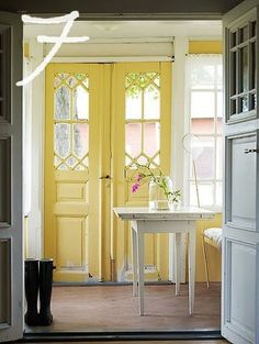 home sweet home. so shabby chic.love the yellow doors! Decor, Swedish Interiors, House Design, Painted Interior Doors, House, Yellow Doors, Home, Interior Design, Yellow Front Doors