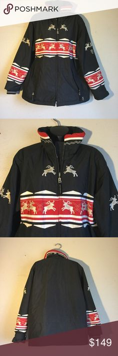 """Bogner Black Red Reindeer Print Ski Jacket 12 Very nice red and black women's size 12 ski snowboard jacket with reindeer design. Dimensions length 28 1/2 inches   Sleeves shoulder seam to the end of cuff 25 and armpit to armpit laying flat bust 25"""".  Very good used condition no stains smells nor tears. Like new. Great pockets, inside cell phone pocket  Bogner Jackets & Coats Puffers"""
