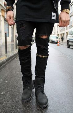 d9327da806a Cool Swag Hip Hop Jeans Destroyed Distressed Knee Leg Zippers Ripped Jeans  Pants For Skinny Men