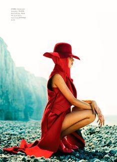 Adeline Jouan Dons Red Looks for SnC September 2012 by Nikolay Biryukov