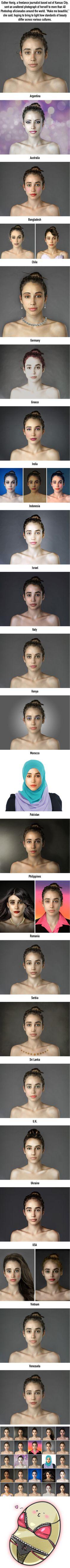 Wie unterschiedlich die Definition von SCHÖNHEIT jeder einzelnen Person ist, wurde bei einem Experiments schnell ersichtlich:  Es wurden 25 Photoshop Profis aus verschiedenen Ländern beauftragt ein und dasselbe Frauengesicht nach den Schönheitsmaßstäben ihres Landes zu optimieren.