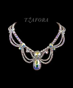 """Moonlight Serenade"" - Swarovski ballroom necklace. Ballroom dance jewelry, ballroom dance dancesport accessories. www.tzafora.com Copyright © 2016 Tzafora."