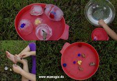 Badespass mit kleinen Spielsachen / Bathing fun with little toys Kindergarten, Winter, Desserts, Food, Game Ideas, Ice, Clearance Toys, Creative, Crafting