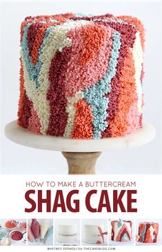 Shag Cake - how to make a fuzzy textured cake inspired by shag carpet. Pretty Birthday Cakes, Pretty Cakes, Cute Cakes, Yummy Cakes, Diy Birthday Cake, Sweet Cakes, Cake Decorating Techniques, Cake Decorating Tips, Piniata Cake
