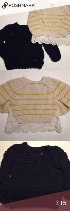 babyGap 3T Two Girls Sweaters Two included! babyGap 3T cotton sweaters, good condition. A little wear and wash wear but in good working order. Navy one is a crocheted type style and striped has adorable eyelet cotton detail. GAP Shirts & Tops Sweaters