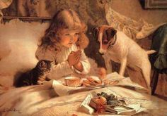This is one of my favorite Victorian images...cat, dog, breakfast!