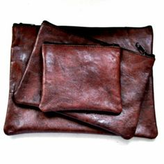 flat brown leather pocket – VDC for La Liane