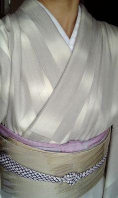 6月中旬、縦絽付下げ、よろけ紗織袋帯