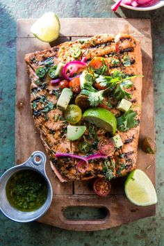 Cuban Grilled Salmon with Tomato Avocado Salsa. Cuban Grilled Salmon with Tomato Avocado Salsa. Grilling Recipes, Fish Recipes, Seafood Recipes, Dinner Recipes, Cooking Recipes, Healthy Recipes, Dinner Ideas, Dinner Party Meals, Cuban Food Recipes