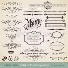 Vector set: calligraphic design elements and page decoration (1) by AKaiser - Image vectorielle