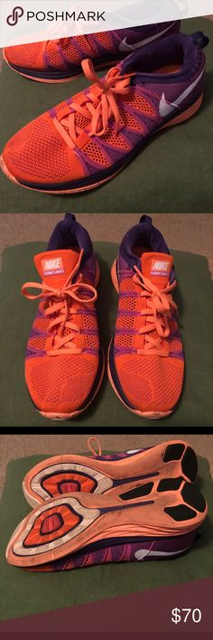 a7501dbd8ae1a Women s size 10 Nike Flynit Lunar 2s Bright orange and purple running shoes.  Worn once. Flyknit ...