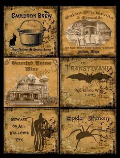 Prim Farmhouse Halloween Labels for sale - diry primiive general store lables Halloween Apothecary Labels, Halloween Bottle Labels, Halloween Potions, Halloween Signs, Halloween Projects, Halloween Cards, Holidays Halloween, Vintage Halloween, Halloween Diy