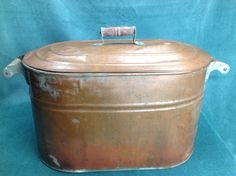 Turn of the Century Vintage Revere Copper Boiler with Lid original patina Solid