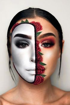 We hate two-faced people. unless it's Halloween and then we love them! Check out this gorgeous two-faced makeup inspo from makeup artist - amazing, right? Don't forget, today is the last day of our off Halloween Flash Sale! Shop link in bio. Half Face Makeup, Face Paint Makeup, Eye Makeup Art, Sfx Makeup, Makeup Lipstick, Beauty Makeup, Halloween Look, Amazing Halloween Makeup, Half Face Halloween Makeup