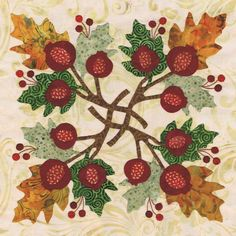 Blk # 9 Pomegranate Wreath for Baltimore Autumn quilt pattern by Pearl P. Pereira Designs, applique cotton