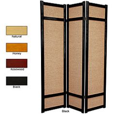 @Overstock - Add privacy to an area of your home with this double-sided wood room divider. Available in enough colors to match any decor, this three-panel divider boasts a wood frame for stability, and it is made of jute, which gives it a traditional Japanese feel.http://www.overstock.com/Worldstock-Fair-Trade/Wood-and-Jute-6-foot-3-panel-Room-Divider-China/4104917/product.html?CID=214117 $153.00