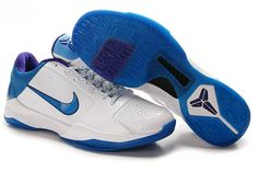 Ken Griffey Shoes Nike Zoom Kobe 5 Draft Days Hornets White Purple Orion Blue [Nike Zoom Kobe 5 - The upper of this Nike Zoom Kobe 5 Draft Days Hornets White Purple Orion Blue is mostly white, with a reptile textured orion blue swoosh on the lateral s Kobe Bryant Basketball Shoes, Kobe Bryant Shoes, Nike Basketball Shoes, Kobe 5 Shoes, New Jordans Shoes, Air Jordans, Michael Jordan Shoes, Air Jordan Shoes, Best Sneakers