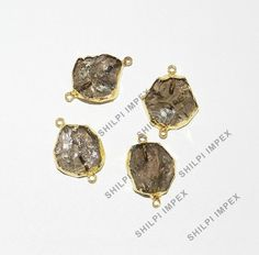 5Pc Natural Smoky Quartz Brass Electroplated Wholesale Lot Connectors Jewelry #Shining_Gems #Connectors #Jewelry #gemstone