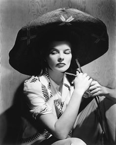 Katherine Hepburn in a really big hat, 1930s