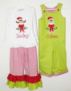 Coordinating brother sister Christmas outfits with applique elf