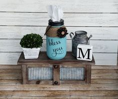 Mason Jar Tissue Holder, Bless You Tissue Jar, Tissue Holder by CaffeineChaosDesigns on Etsy Pot Mason Diy, Fall Mason Jars, Mini Mason Jars, Rustic Mason Jars, Painted Mason Jars, Mason Jar Crafts, Rustic Gifts, Wood Gifts, Jute Flowers