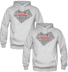 I LOVE HER I LOVE HIM DESIGNED Couple Hoodie