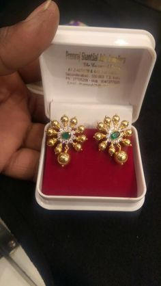 Gold Ear Studs in 10 Grams, Gold Earrings in 10 Grams, 10 Grams Gold CZ Ear Stud, CZ Ear Stud Designs.