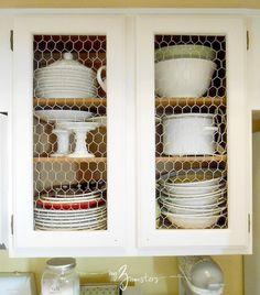 Chicken Wire and White Kitchen cabinets