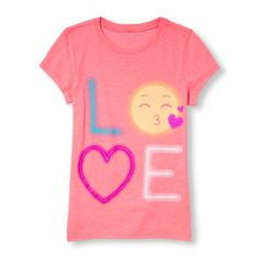 s Short Sleeve 'Love' Neon Graphic Tee - Pink T-Shirt - The Children's Place