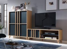 Modern Montreal Cabinet & TV Unit in Anthracite and Oak. Dimensions: Cabinet W118cm x D40cm x H139cm TV unit W150cm x D40cm x H51cm