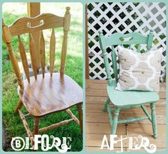 35 Trendy Ideas For Wood Chair Design Spray Painting Refinished Chairs, Painted Wood Chairs, Painted Furniture, Wooden Chairs, Chair Makeover, Furniture Makeover, Furniture Projects, Diy Furniture, House Projects