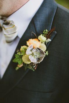 mixed boutonniere // photo by Jason + Anna Photography // http://ruffledblog.com/woodsy-catskills-wedding